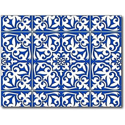 oliyneco marroquí azulejo azul cobalto y blanco de goma antideslizante Entry forma decoración de interiores y exteriores Alfombra Doormats, 23.6-inch X 15.7-Inch