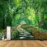 YUANLINGWEI Wandbild Tapete Foto Benutzerdefinierte 3D Fototapeten Moderne Bäume Park Grün Straße Landschaft Bild Wohnzimmer Schlafzimmer Hintergrund,100Cm (H) X 200Cm (W)