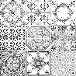 Muriva Tile Pattern Retro Floral Motif Kitchen Bathroom Vinyl Wallpaper (Black J95609)