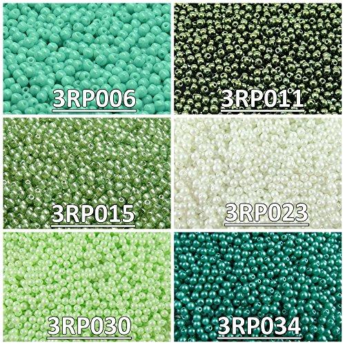 600 stk 6 Farben Tschechische Gepresste Glasperlen Rund 3 mm, Set RP 321 (3RP006 3RP011 3RP015 3RP023 3RP030 3RP034)