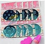 Goliton® 10 Bildplatten + 1 Stk Stempel + 1 Stück Schrott Nagelkunst-Stempelkit Nagelstempel Nageldesign - Schwarz