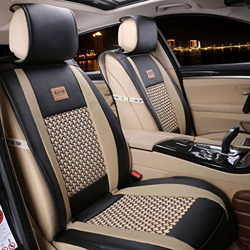 PU Leather Car Seat Cover Cushions, FREESOO Front Rear Full Set 10 pcs for 5 Seats Vehicle Suitable for Year Round Use Black