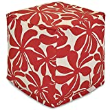 """Majestic Home Goods Red Plantation Indoor/Outdoor Bean Bag Ottoman Pouf Cube 17"""" L x 17"""" W x 17"""" H"""