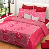 #7: Home Elite Dynamic 120 TC Cotton Double Bedsheet with 2 Pillow Covers - Floral, Pink