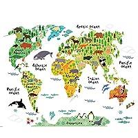 Çizgi film çocuk odası Parlor TV Duvar Home için arka plan Colorful İngilizce kelimelerle dünya haritası Art duvar çıkartması Çıkartma vinil çıkartma Home dekorasyon