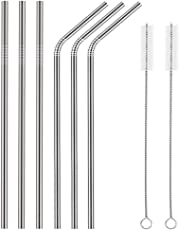Fancyku Stainless Steel Straws for Drinking with Brushes (3 Bent + 3 Straight + 2 Brushes) (FK-0372)