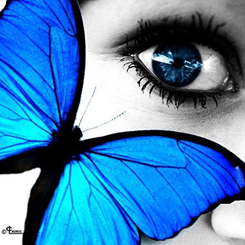 Startonight Impression Sur Verre Acrylique Œil Papillon, Imprimée Tableau Oeuvre Originale Motif Moderne Décoration Prêt à Accrocher 60 x 60 cm