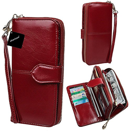 xhorizon TM SR Women Large Capacity Leather Zipper Wallet Purse Wristlet Handbag with Removable Wrist Strap for iPhone SE/5/6/6 Plus Samsung S5/S6/S6Edge/S7/S7Edge + LG G3 G4 G5 (Wine Red)