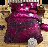 Bettbezug Set 3D Galaxy Sternenhimmel Universum Mond Einhorn Duvet Quilt Und Kissenbezug Einzelbett 135x200cm für Kinder, Jungen, Mädchen Bettwäsche-Set (Rote Galaxie, 135 x 200 cm)