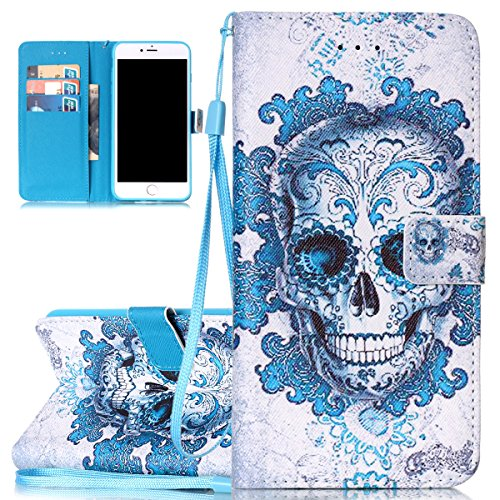 Hülle für iPhone 7 Plus, Tasche für iPhone 7 Plus, Case Cover für iPhone 7 Plus, ISAKEN Malerei Muster Folio PU Leder Flip Cover Brieftasche Geldbörse Wallet Case Ledertasche Handyhülle Tasche Case Sc Skull Dunkelblau