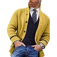 Cardigan Classico da Uomo in Maglia con Bottoni A Maglia Cardigan Lavorato A Maglia A Maniche Lunghe con Collo A Scialle