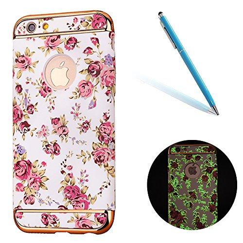 """Protecteur étui avec Détachable Plating Border pour Apple iPhone 7Plus 5.5""""(NON iPhone 7 4.7""""), CLTPY Mode Beau Flower Impression Motif Nocturnes Lumineux Case en Dur Plastique, Ultra Fine Slim Bumper Fleur Pink"""