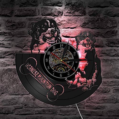 CVG Berner Sennenhund Chien Race Decor Vintage Vinyle Record Wall Art Horloge Montre Bouvier Bernois Horloge Murale Cadeau pour Amoureux des Chiens