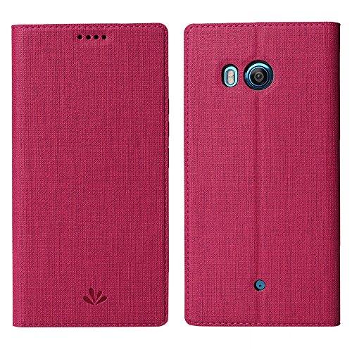 feitenn HTC U11Life Premium Flip Leder PU Wallet Smart Schutzhülle Ständer Ständer Karte Halter Magnetisch Silikon Transparent TPU Bumper Slim Dünn Schutzhülle für HTC U11Life, HTC U11 Plus, Rot (Htc-handy Brieftasche Handtasche Fall)