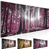 Bild 200 x 80 cm - Wald Bilder- Vlies Leinwand - Deko für Wohnzimmer -Wandbild - XXL 5 Teilig Teile - leichtes Aufhängen- 801855c
