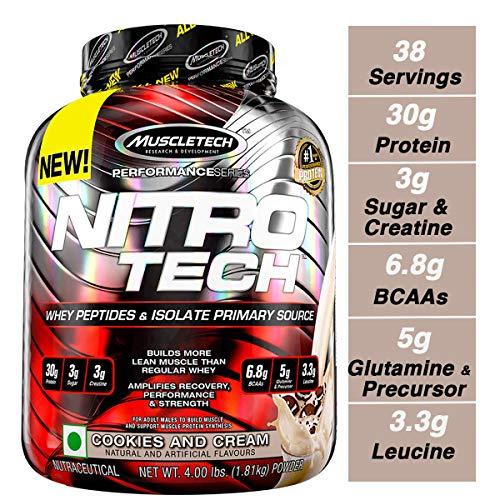 Muscletech Suplemento para Deportistas Nitro Tech Performance Series, Sabor de Cookies & Cream - 1800 gr