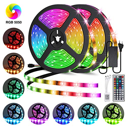 Elfeland LED Streifen 10M RGB LED Strip 300 LEDs 5050SMD LED Band Lichterkette Bänder Hintergrundbeleuchtung mit 44 Tasten Fernbedienung IP65 Selbstklebend Innen außen Beleuchtung Full Kit -