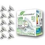 10x greenandco® IRC 90+ 4000K 36° Spot à LED GU5.3 MR16 6W équivalent 44W, 440lm blanc neutre SMD LED 12V AC/DC, verre, non g