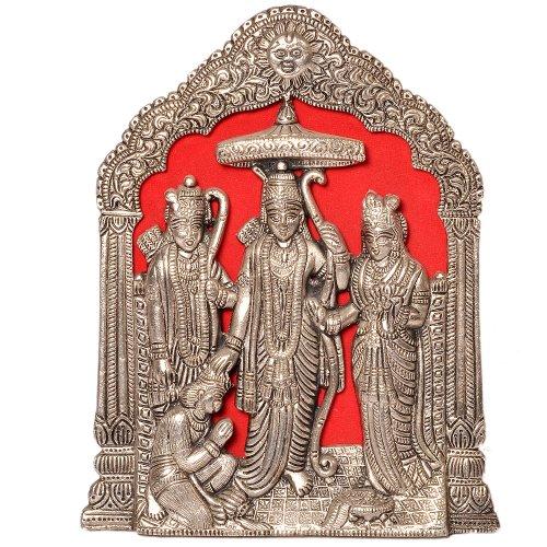 Little Inde métal antique Seigneur Ram Darbar Idol 25,4 cm x 15,24 cm Argent