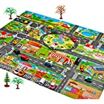 Koojawind Road Playmat Toy, Kids Carpet Playmat, Great for Playing with Cars and Toys, Children Educational Road Traffic Play Mat- Learn and Have Fun Safely, Fun Play Mat City Design Kids Rugs