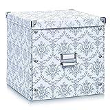 Zeller 17974 Aufbewahrungsbox Vintage, Pappe, weiß, ca. 33,5 x 33 x 32 cm