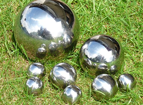 8 x Dekokugel Set Silberkugel Ø 15 cm Ø 10 cm Ø 6 cm Ø 4 cm Edelstahl Kugel Rosenkugel Schwimmkugel Teichkugel