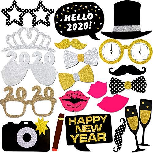 Konsait Neujahr 2020 Fotorequisiten Fotoaccessoires, Silvester Photo Booth Props Set mit Stick für Erwachsene Kinder Party Accessoires 2020 Neujahr Party Dekor Verkleidung Mitbringsel Maske (21 Pcs)