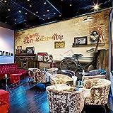 Poowef 3D Wallpaper jene Jahre des großen Wandbild nostalgische KTV Bar und Restaurant Studenten kommen zu dem jugendlichen Alter Hintergrundbild