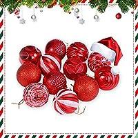 Yhomie Bolas de Navidad, 12 PCS Adornos Navideños para Arbol, Bolas Plastico Adornos para Árbols de Navidad, Tiendas, Decoración de Bodas - Rojo