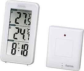 Hama Funk-Wetterstation EWS-152 mit Funkuhr und Thermometer (inkl. Außensensor, Reichweite 50 m) weiß