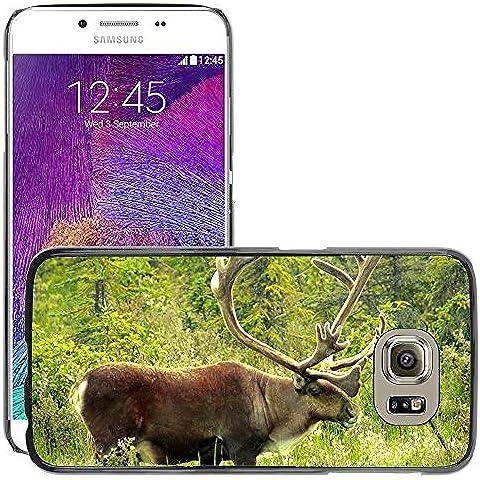 Carcasa Funda Prima Delgada SLIM Casa Case Bandera Cover Shell para // M00113107 Caribou Alaska Animal Wildlife Nord // Samsung Galaxy S6 (Not Fits S6 EDGE)