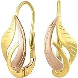 SILVEGO Orecchini da Donna in Oro Giallo e Rosa 14K Motivo di Foglia
