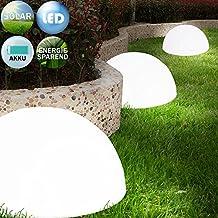 3x LED Solarleuchte Gartenbeleuchtung Lampe Leuchte Solar Akku betrieben Outdoor | wiederaufladbarer Akku | Wandmontage möglich | Kabellos
