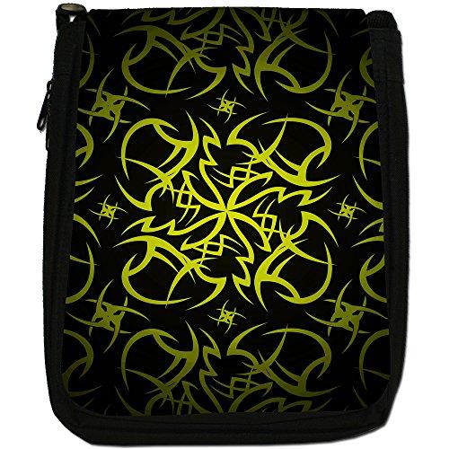 Tribale-Borsa a tracolla in tela, colore: nero, taglia: M Nero (Tribal Cult Tattoo - Yellow)