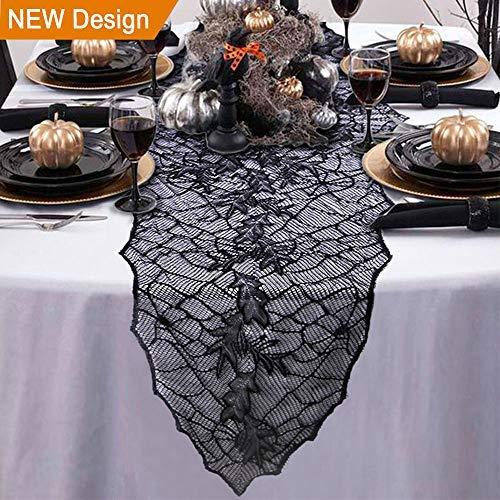 Wmbetter Tischläufer für Halloween, mit Spitze, Motiv Blätter, 184,8 x 55,9 cm, Schwarz (Machen Sie Einen Halloween-kürbis Letzte)