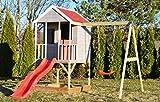 Kinderspielhaus Spielhaus mit Treppe, Sandkasten, Rutsche und Einzelschaukel