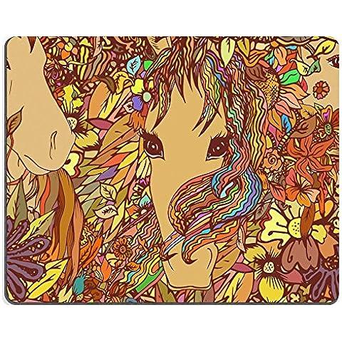 Luxlady Gaming ID: senza Mousepad 44060464 vector, motivo con cavallo e fiori, per decorazione sfondo in tessuto - Tessuto Cavallo