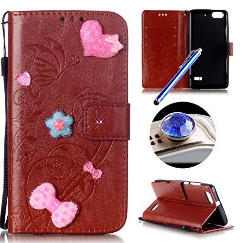 Etsue Huawei Honor 4C Cover Marrone,Honor 4C Custodia Portafoglio,Puro Leather Pu Flip Libro Wallet Bookstyle (Messenger Folio)