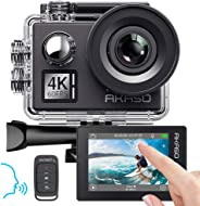 AKASO Action Cam Native 4K/60fps 20MP WiFi,Touch Screen,Comandi Vocali,EIS 40m Impermeabile, 8 Volte Zoom, Angolo Variabile,T