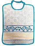Panini Tessuti BAVAGLINO BAVETTA Happy Pulcini con elastico e tela aida per ricamo nome (celeste)