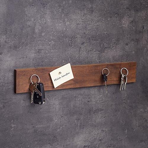 Schlüsselbrett magnetisch Holz | Handgefertigt in Bayern | viele Varianten zur Auswahl | Schlüsselhalter Magnet | Schlüsselkasten Schlüsselleiste Messerleiste | 45cm Nuss-Holz