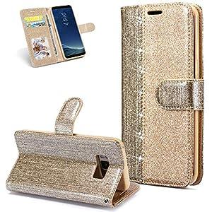 FNBK Hülle Leder Kompatibel mit Samsung Galaxy S8 Plus Handyhülle Glitzer Ledertasche Schutzhülle Wallet Flip Case Tasche Slim im Bookstyle Magnet Kartenfächer Stand Klapphülle für Galaxy S8 Plus,Gold