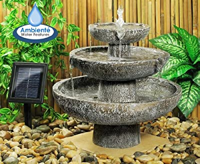 Ambiente Solar Cascade 3-Tier Fountain Water Feature