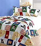 Childrens Bedding Quilted Bedspread Pirates / Comforter Throws Single Bed