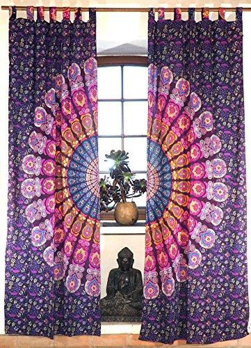 Guru-Shop Vorhang, Gardine (1 Paar Vorhänge, Gardinen) mit Schlaufen, Mandala Motiv - Lila/gelb/pink, Violett, Baumwolle, 230x100x0,2 cm, Dekovorhänge