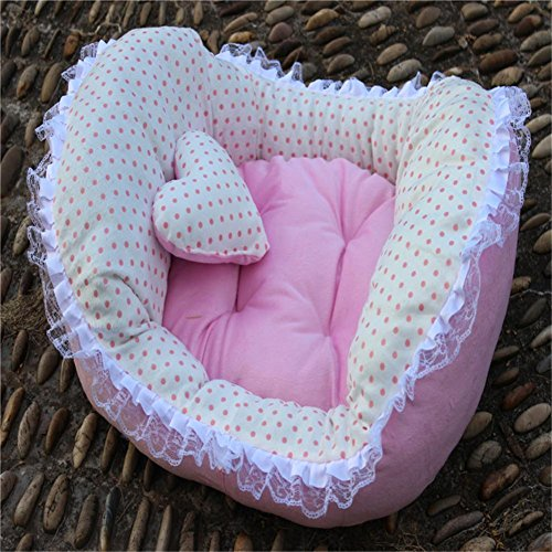 50 * 60cm Dog Bed Princess Style Dentelle Dot Chats Chiens Lits Pet Sleeping Mat Pets Mats Pink / Blue Nest , 1