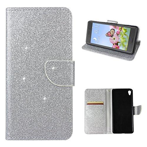 Coque Sony Xperia XA Cuir, Etui Sony XA Flip Cover, Moon mood Brillant Glitter Bling PU Cuir Wallet Case pour Sony Xperia XA Portefeuille de Carte Bouton Magnétique Fente pour Carte Titulaire TPU Doux Étui pour Sony Xperia XA