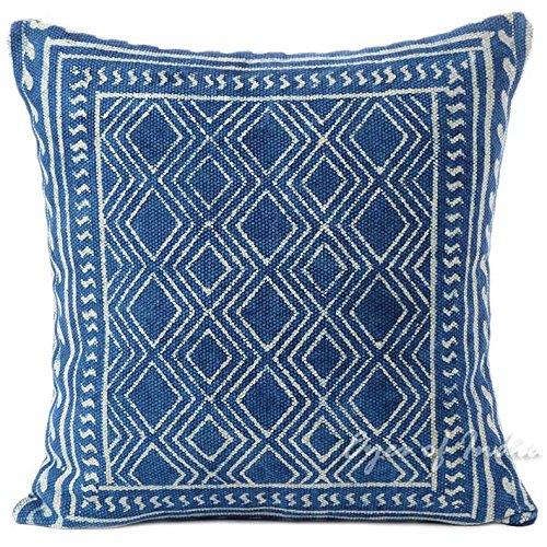 Eyes of India - Indigo Blau Dekoratives Kissen Blockdruck Kissenbezug Boden Sofa Sofa Wurf Indisch Bunt Boho Unkonventionell Deckel - Blau, 20 X 20 in. (50 X 50 cm) - Druck-wurfs-kissen Indische