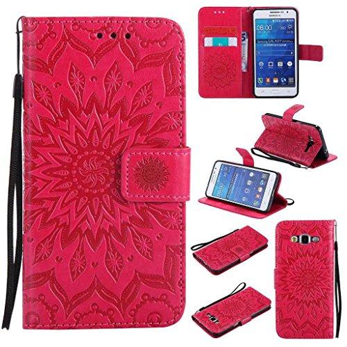 BoxTii Coque Galaxy Grand Prime, Etui en Cuir de Première Qualité [avec Gratuit Protection D'écran en Verre Trempé], Housse Coque pour Samsung Galaxy Grand Prime (#5 Rouge)