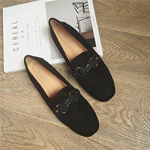 WYMBS Le cadeau le plus intime Suite loisirs foot chaussures avec des chaussures à tête carrée minimaliste chaussure basse lumière port avec la femelle des célibataires chaussures Télévision Black